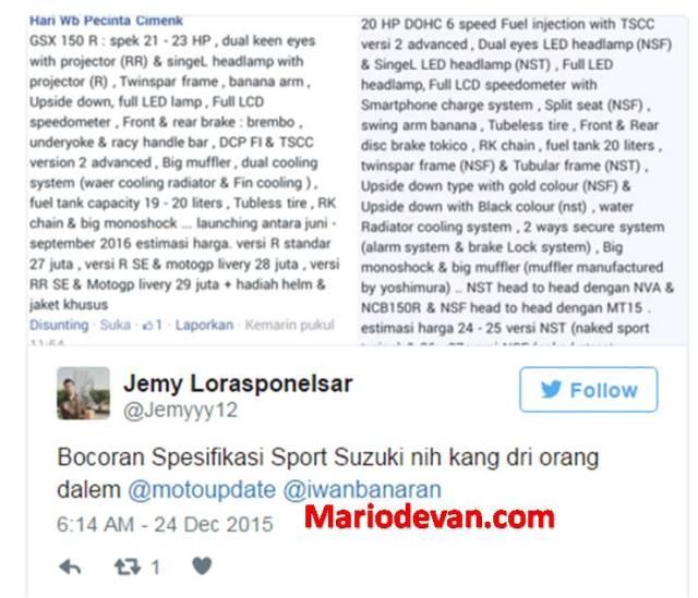 Bocoran spesifikasi sport suzuki 2016