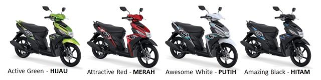 ada 4 warna baru Mio standart
