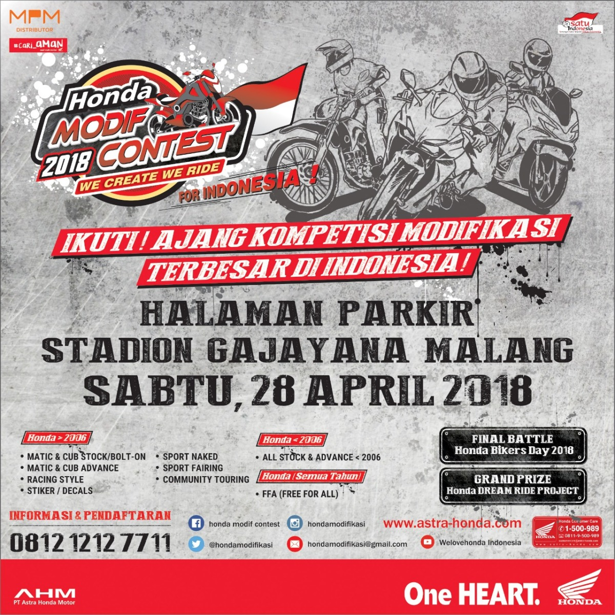 Honda Modif 2018 Contest, Kompetisi Modif Terbesar di Indonesia Bakal Digelar di Malang! Ayo, Ramaikan!
